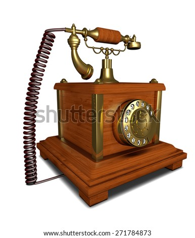 telephone ancient made of wood with dial plate