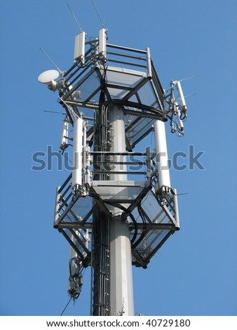 telephone antenna. mobile phone aerial. - stock photo