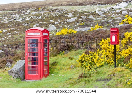 telephone booth and letter box near Laid, Scotland - stock photo