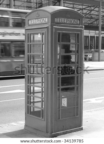 Telephone Box London - in black and white
