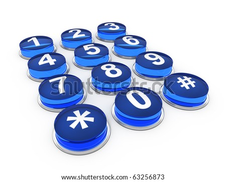telephone buttons on white background - stock photo
