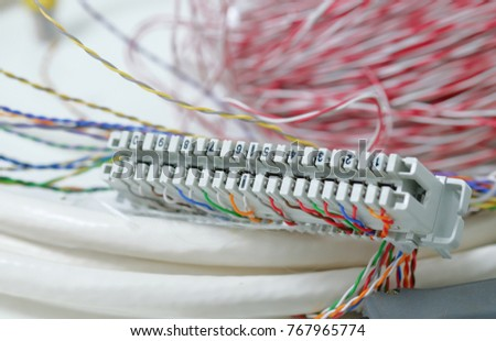 Telephone panel stock images royalty free images vectors telephone cables copper type install on patch panel on white table selective focus on white greentooth Image collections