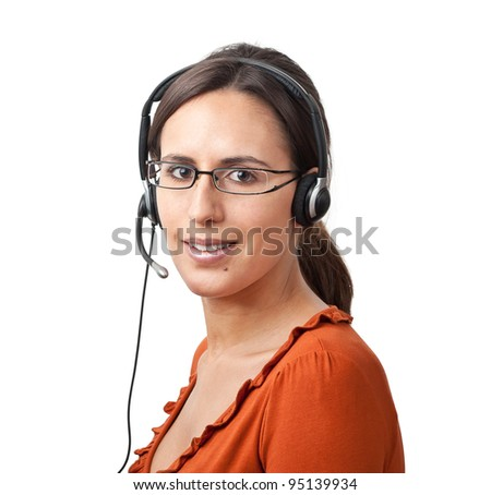 Telephone Call Center Operator Agent - stock photo