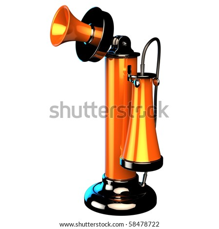 Telephone candlestick phone retro-styled. Communication connection obsolete technology. Detailed 3d render cgi. Isolated on white background. - stock photo