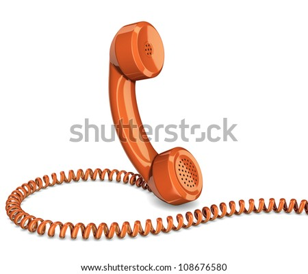 Telephone handset isolated - stock photo