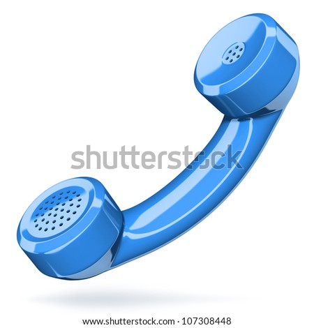 Telephone handset on white - contact 3d concept - stock photo