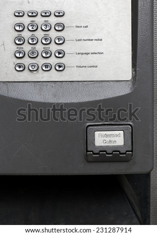 Telephone keyboard and returned coins on public phone in a telephone box
