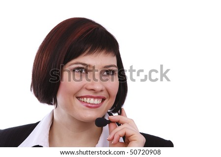 Telephone operator.  Beautiful Customer Representative girl with headset.  Woman with headset
