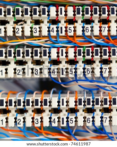 telephone panel or switchboard panel with wires - stock photo