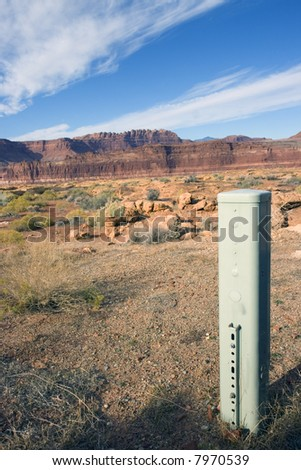Telephone pedestal in remote area in Utah.