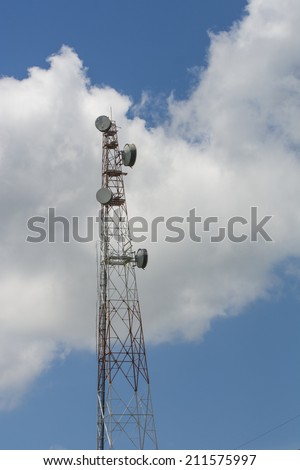 Telephone pole with clear blue sky