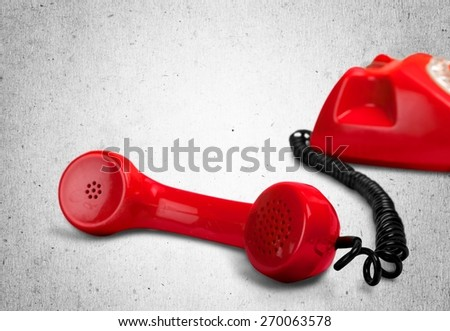 Telephone, Red, Telephone Receiver. - stock photo
