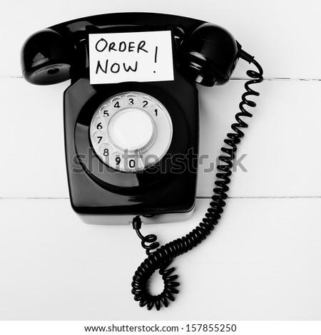Telephone shopping order line - stock photo