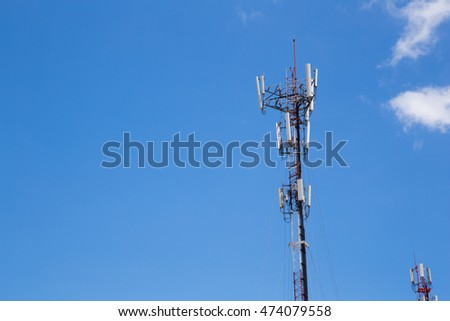 telephone signal pole with sky background.