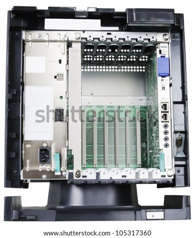 Telephone switch system front view isolated on the white