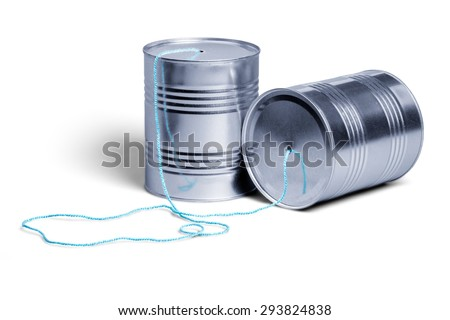 Telephone, Tin Can Phone, Can. - stock photo