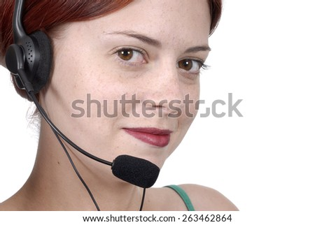 Telephonist woman with telephone headset, looking, front view