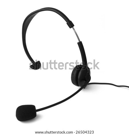 Telephony headset isolated on white. - stock photo