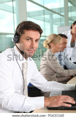 telesales worker - stock photo