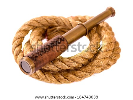 Telescope and rope isolated on white  - stock photo