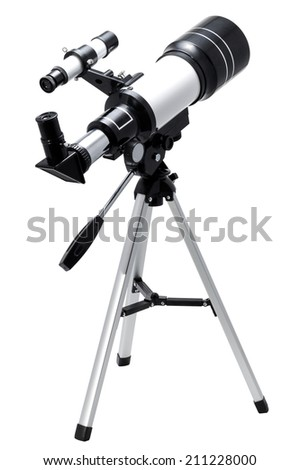 Telescope isolated on a white background - stock photo