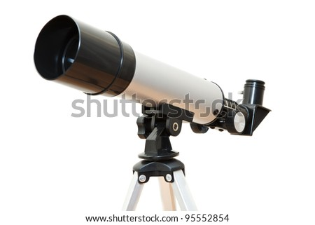 Telescope isolated on white background. Made from three images with all parts focus - stock photo