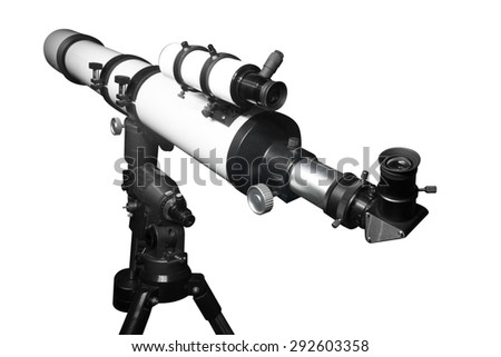 Telescope isolated on white background with clipping path  - stock photo