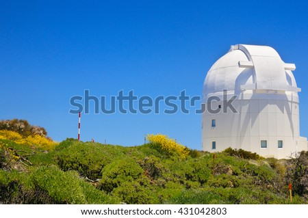 Telescope of Teide Astronomical Observatory in Tenerife, Canary islands, Spain.