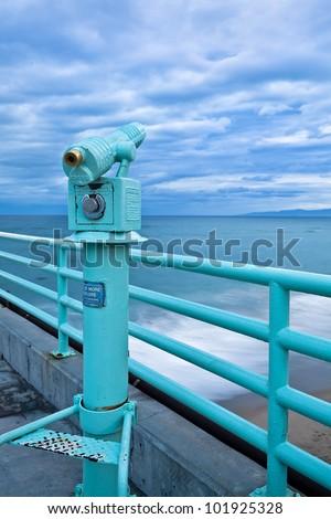 telescope on the beach - stock photo