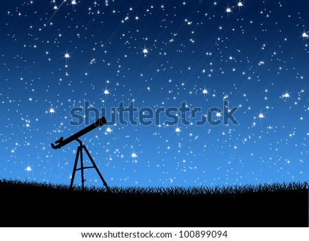 Telescope on the grass Under the Stars background - stock photo