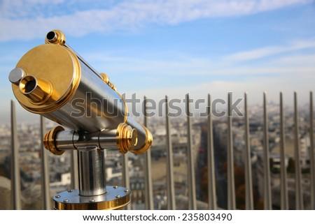 Telescope on the Top of Arc de Triomphe. Paris - stock photo