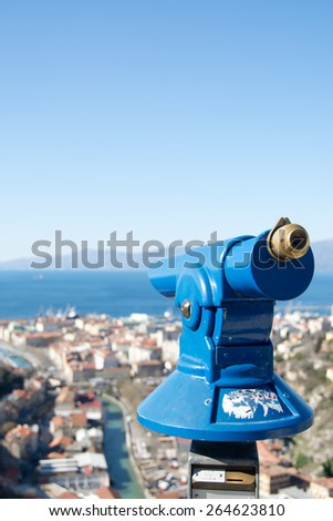 Telescope to observe panorama,coin operated telescope to observe the coastal landscape   - stock photo