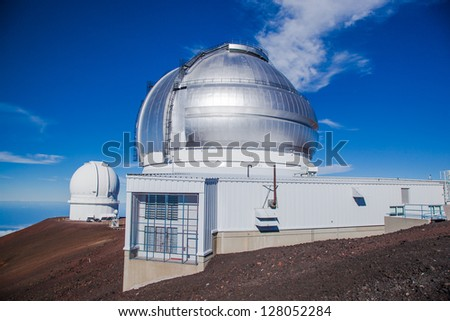 Telescopes on top of Mauna Kea Mountain, Big Island, Hawaii - stock photo