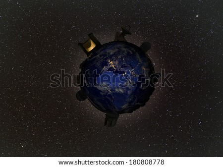 Telescopes study the starry night sky  from planet Earth.  Elements of this image furnished by NASA.