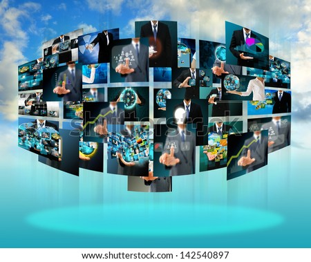 Television and internet production .technology and business concept