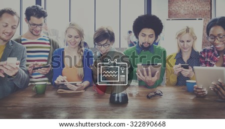 Television Broadcasting Multimedia Entertainment Technology Concept - stock photo