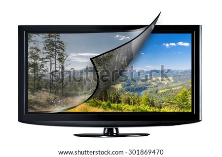 Television display with new technology. Full ultra HD 8k on modern TV. - stock photo
