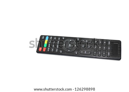 Television/DVD remote control unit isolated on a white background using clipping path - stock photo