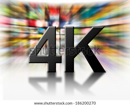 Television 4k resolution technology concept isolated on white. - stock photo