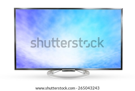 Television monitor texture sky isolated on white background.