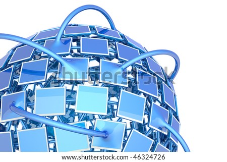 Television network. Hi-res digitally generated image. - stock photo