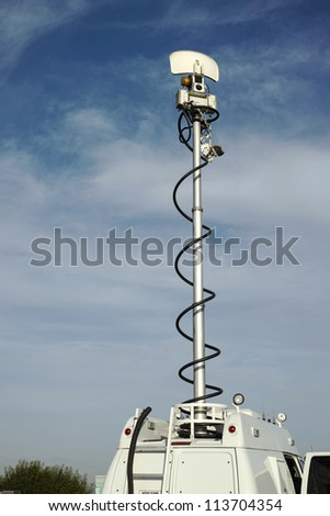 Television News Van Antenna - stock photo
