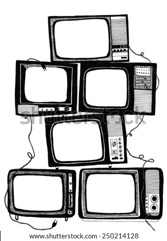 Television - original drawing on the white background - stock photo