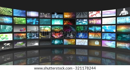 Television Production Technology Concept with Video Wall - stock photo