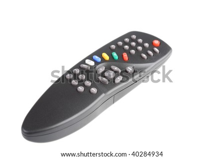 Television remote control. It is isolated. White background. - stock photo
