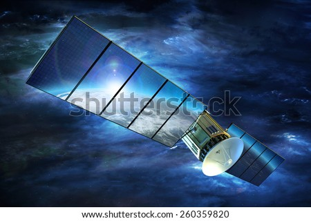 Television Signal Satellite with Large Solar Panels on Earth Orbit. 3D Render Illustration. Broadband Television Technology. - stock photo
