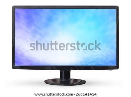 Television sky or monitor PC landscape isolated on white background.