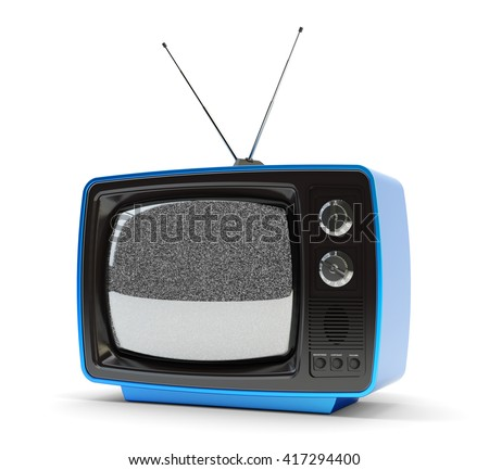 Television, telecommunication and broadcasting media concept, blue retro tv set receiver with antenna and noise signal on screen isolated on white, 3d illustration