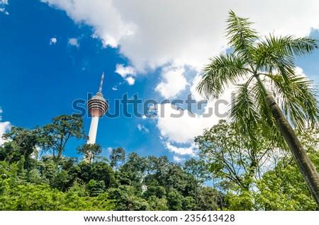 Television tower in Kuala Lumpur, Malaysia  - stock photo