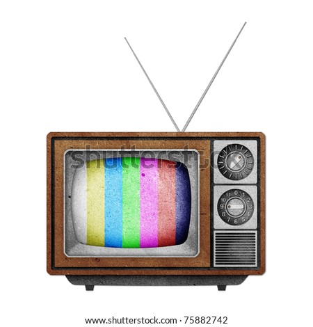Television ( TV ) icon recycled paper stick on white background